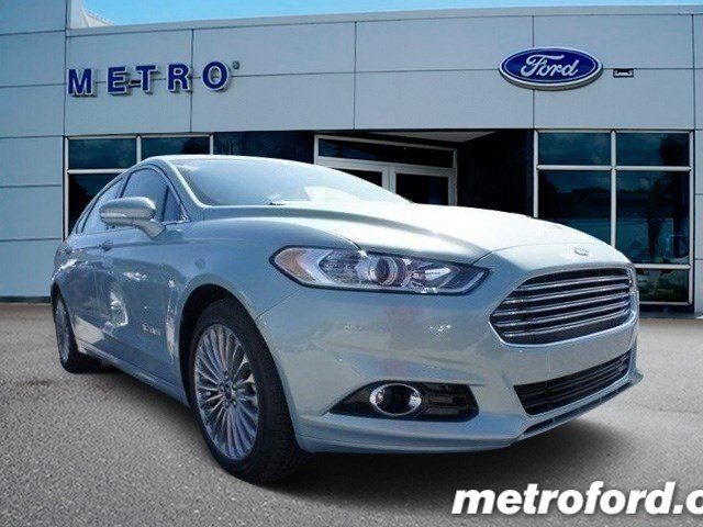 2014 Ford Fusion Hybrid Titanium Ice Storm Metallic Charcoal Black wLeather-Trimmed Heated Sport